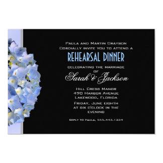 La cena negra y azul del ensayo del Hydrangea Invitación 12,7 X 17,8 Cm