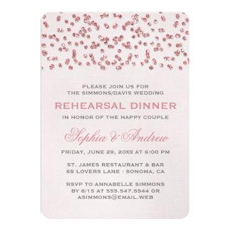 La cena rosada del ensayo del confeti de la mirada invitación 12,7 x 17,8 cm