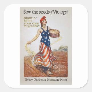La cerda de la libertad del jardín de victoria pegatina cuadrada