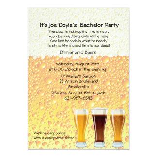 La cerveza anima la invitación de la despedida de invitación 12,7 x 17,8 cm