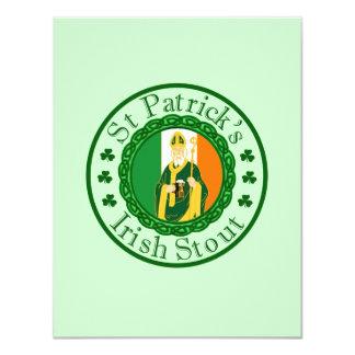 La cerveza de malta irlandesa de St Patrick Invitación 10,8 X 13,9 Cm
