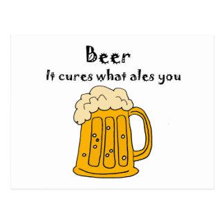La cerveza divertida cura qué Alés usted dibujo Postal