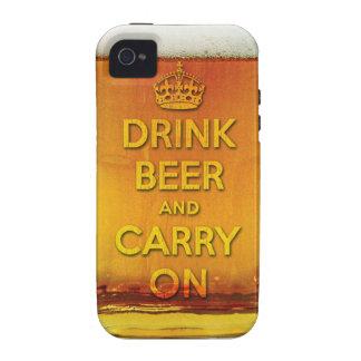 La cerveza divertida de la bebida y continúa Case-Mate iPhone 4 fundas