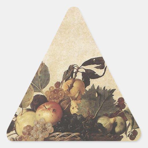 La cesta de Caravaggio de fruta Pegatinas De Triangulo