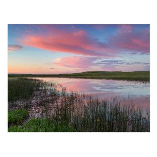 La charca de la pradera refleja las nubes postal