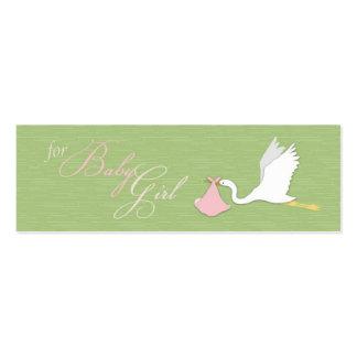La cigüeña entrega la etiqueta flaca del regalo de plantillas de tarjetas personales