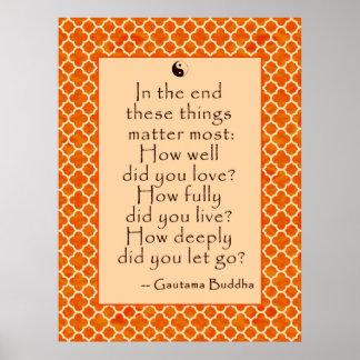 La cita de Buda sobre amor y el dejar van Posters
