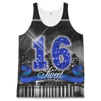 La ciudad enciende el dulce 16 ID118 azul Camiseta De Tirantes Con Estampado Integral