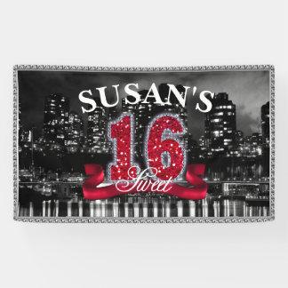 La ciudad enciende el dulce dieciséis ID242 rojo Lona