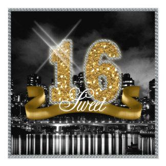 La ciudad enciende el oro ID243 del dulce Invitación 13,3 Cm X 13,3cm