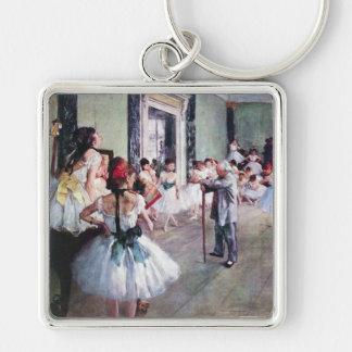 La clase de danza de Edgar Degas, arte del ballet Llavero Cuadrado Plateado