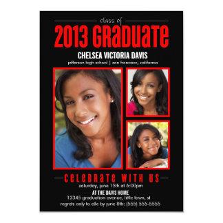 La clase roja negra de la foto graduada 2013 invitación 12,7 x 17,8 cm
