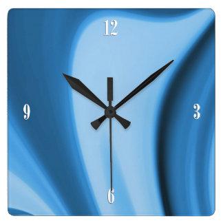 La cocina azul remolina reloj de pared de cuatro