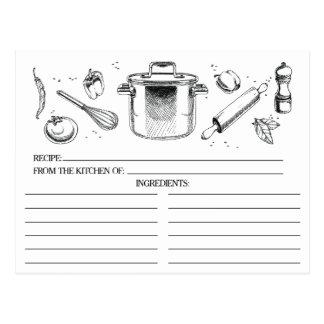 La cocina bosquejada blanca negra equipa tarjetas postal