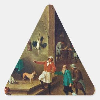 La cocina de David Teniers el más joven Pegatina Triangular