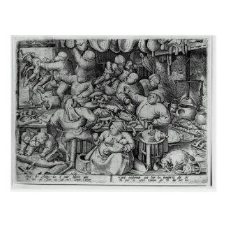La cocina gorda de Pieter Bruegel la anciano Postal
