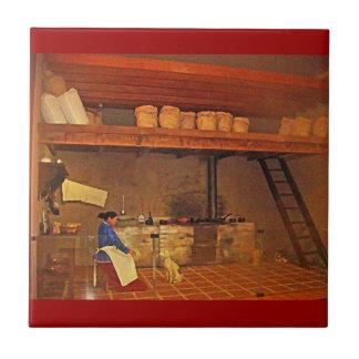 La Cocina - museo del en de Mujer y su Perro de la Azulejo Cuadrado Pequeño