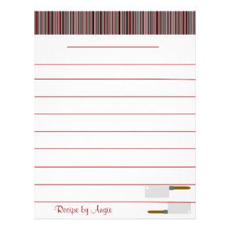 La cocina raya el papel rojo de la receta - con lí folleto 21,6 x 28 cm