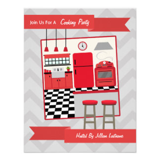 La cocina roja retra que cocina al fiesta invita invitación personalizada