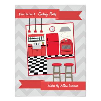 La cocina roja retra que cocina al fiesta invita invitación 10,8 x 13,9 cm