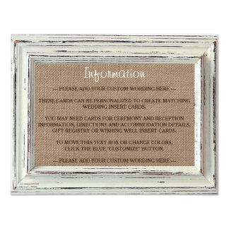 La colección blanca rústica del boda del marco y invitación 10,8 x 13,9 cm
