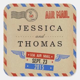La colección del boda del correo aéreo del vintage pegatina cuadrada