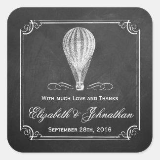 La colección del boda del globo del aire caliente pegatina cuadrada
