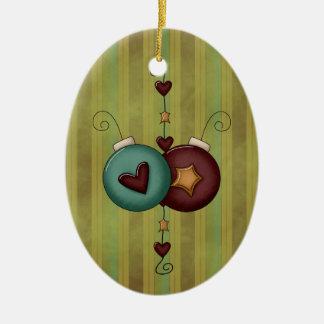 La colección del navidad protagoniza corazones adorno navideño ovalado de cerámica