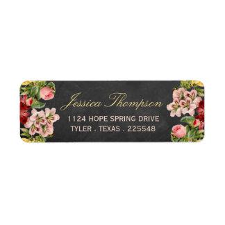 La colección floral del boda de la pizarra del etiqueta de remitente