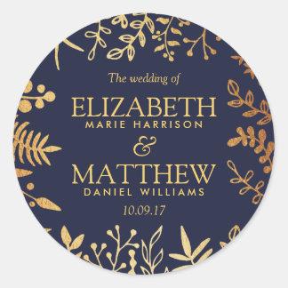 La colección floral elegante del boda de la marina pegatina redonda