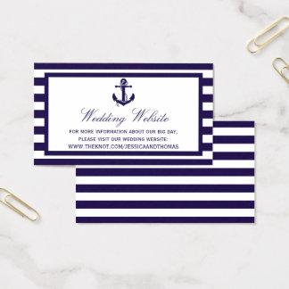 La colección náutica del boda de la raya de la tarjeta de visita