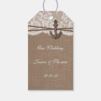 La colección náutica rústica del boda del ancla etiquetas para regalos