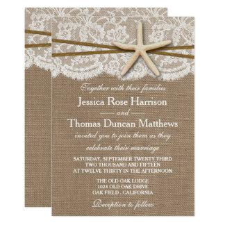 La colección rústica del boda de playa de las invitación 12,7 x 17,8 cm