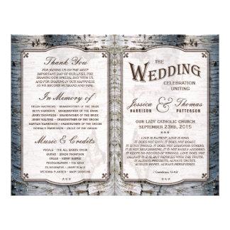 La colección rústica del boda del árbol de abedul folleto 21,6 x 28 cm
