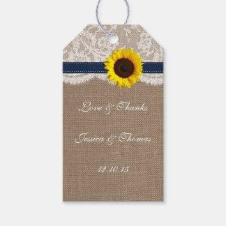 La colección rústica del boda del girasol - marina etiquetas para regalos
