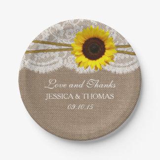 La colección rústica del boda del girasol plato de papel