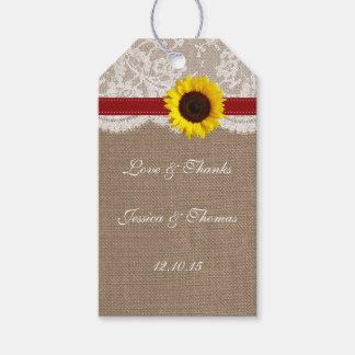 La colección rústica del boda del girasol - rojo etiquetas para regalos