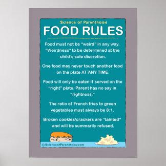 La comida de los niños gobierna #1 (púrpura) póster