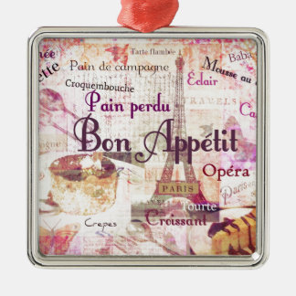 La comida francesa de Appétit del Bon redacta la Adorno Navideño Cuadrado De Metal