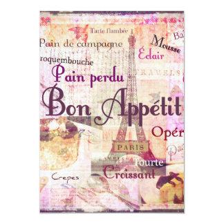 La comida francesa del estilo de Appetit del Bon Invitación 12,7 X 17,8 Cm