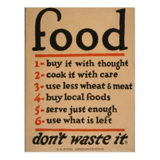 La comida, no lo pierde - poster de la guerra del postal