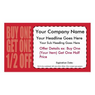 La compra una consigue un 1 2 de tarjeta de la cup plantilla de tarjeta de negocio