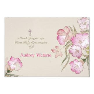 La comunión floral rosada de ruborización le invitación 8,9 x 12,7 cm