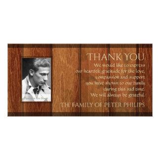 La condolencia de madera rústica del marco le tarjetas fotograficas