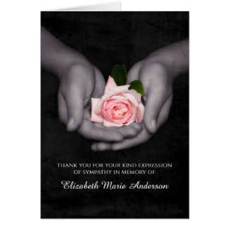 La condolencia elegante le agradece color de rosa tarjeta de felicitación