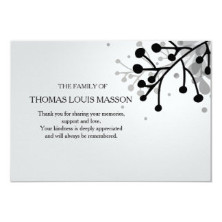 La condolencia floral blanco y negro le agradece invitación 8,9 x 12,7 cm