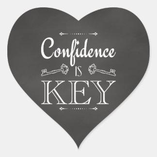 La confianza es llave pegatina en forma de corazón