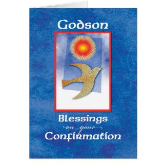 La confirmación del ahijado se zambulló en azul tarjeta de felicitación