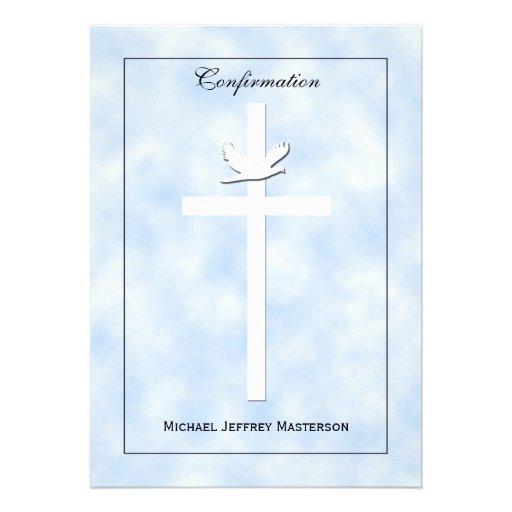 La confirmación invita - la paloma y la cruz en az invitacion personalizada