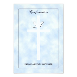 La confirmación invita - la paloma y la cruz en invitación 12,7 x 17,8 cm